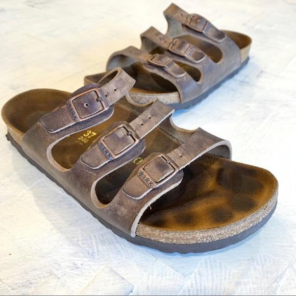 Birkenstock Brown Triple Strap Leather Sandals